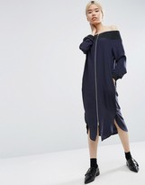 Asos Off Shoulder Bomber Midi Dress In 100% Silk