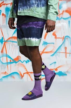 boohoo Mens Purple Big & Tall Quavo Slim Fit Tie Dye Denim Short, Purple
