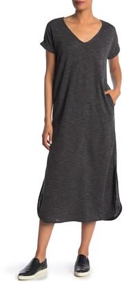 Velvet Torch Heathered V-Neck Short Sleeve Midi Shift Dress