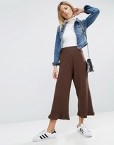 Asos Wide Leg Cropped Trousers In Rib