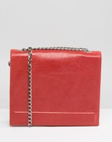 Urban Code Urbancode Real Leather Chain Strap Box Bag in Red