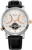 Kenneth Cole New York Men's KC8014 Automatic Round White Dial Rose Gold Detail Strap Watch