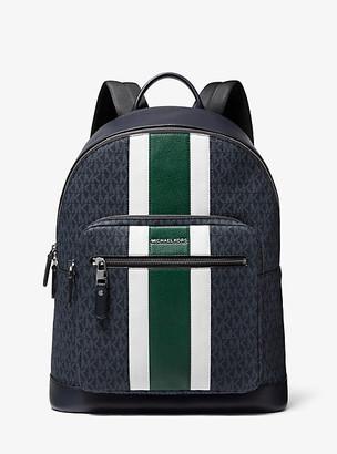Michael Kors Hudson Logo Stripe Backpack - Adm/jewl Grn