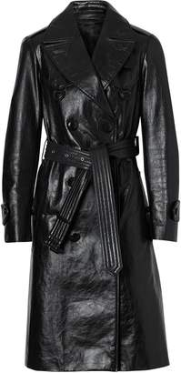 Burberry D-ring Detail Crinkled Leather Trench Coat
