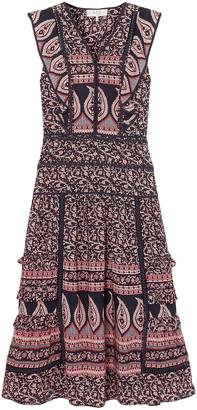 Sea Aurora Lace-trimmed Printed Cotton-voile Midi Dress