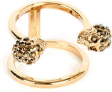 Alexander McQueen Twin skull gold-plated double band ring