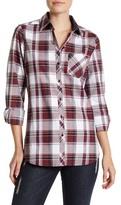 Foxcroft Herringbone Plaid Long Sleeve Shirt