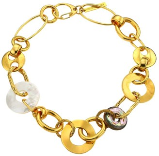 Lizzie Fortunato Solistic Goldplated, Mother-Of-Pearl & Abalone Disc Collar Necklace