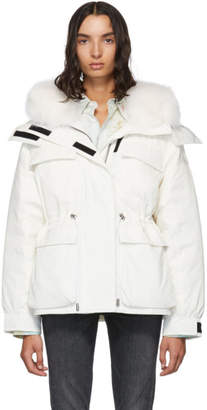Yves Salomon Army White Down and Fur Bachette Jacket