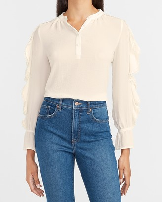 Express Ruffle Sleeve Button Front Top