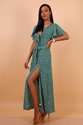 Lilura London Wrap Front Split Leg Maxi Dress In Green Daisy Dot Print