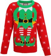 ChristmasShop Christmas Elf Kids Unisex Knitted Jumper - Ages 2-12 Years - /Green - 23