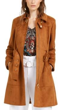INC International Concepts Inc Petite Belted Faux Suede Trench Coat, Created For Macy's
