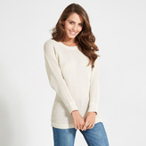 Apricot Stone Button Up Back Batwing Jumper