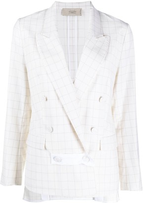 Maison Flaneur Long-Sleeved Check Print Blazer