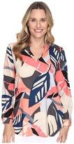 Vince Camuto Long Sleeve Modern Tropics V-Neck Tunic Women's Blouse
