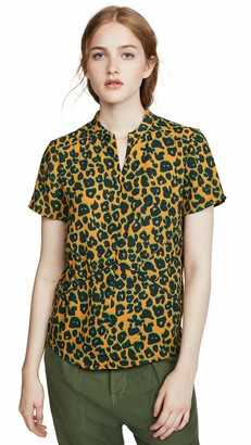 Scotch & Soda Maison Women's Short Sleeve Printed Top with Ladder Tape Details Kniited Tank