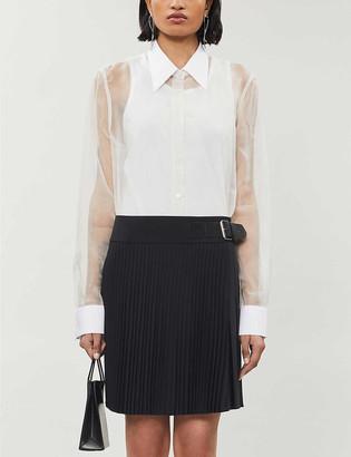 Helmut Lang Pleated high-waist metallic wool-blend skirt