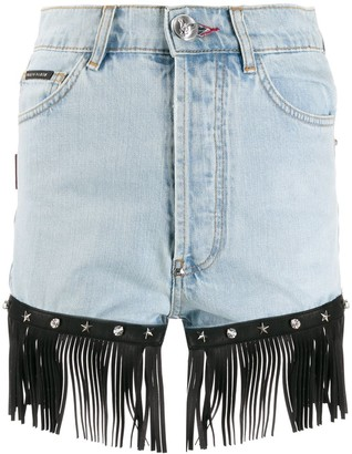 Philipp Plein Fringed Denim Shorts