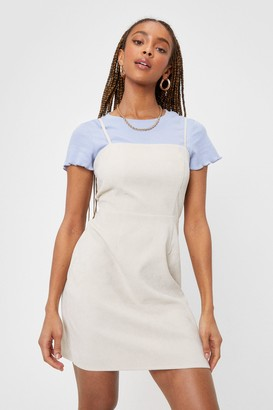 Nasty Gal Womens Strappy Vibes Only Mini Corduroy Dress - Cream - 4
