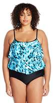 Maxine Of Hollywood Women's Wild Side Double-Tier One Piece Swimsuit