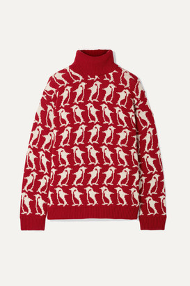 MONCLER GENIUS 3 Moncler Grenoble Wool And Cashmere-blend Intarsia Turtleneck Sweater - Red