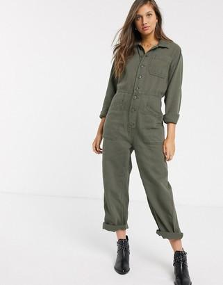 Free People Gia utility jumpsuit in khaki