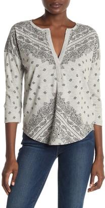 Lucky Brand Paisley Print 3/4 Sleeve T-Shirt