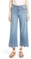 RED Valentino Women's Scallop Detail Denim Pants