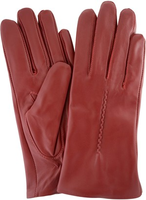"SNUGRUGS Womens Butter Soft Premium Leather Glove with Woven Stich Design & Warm Fleece Linning - Red - X-Large (8"")"