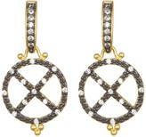 Freida Rothman 14K Gold Plated Sterling Silver CZ Contemporary Deco Earrings