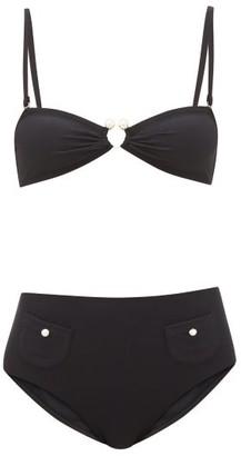 Leslie Amon Thea Faux Pearl-embellished Bikini - Black