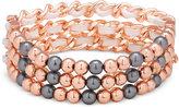 GUESS Rose Gold-Tone Imitation Pearl Stretch Bracelet
