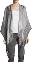 Neiman Marcus Colorblock Hooded Ruana Shawl, Gray