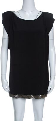 Prada Black Embellished Hem Ruffled Sleeve Dress M