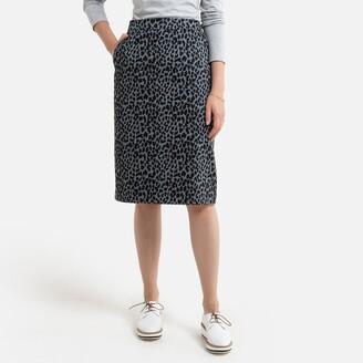Anne Weyburn Cotton Animal Print Skirt in Stretch Satin