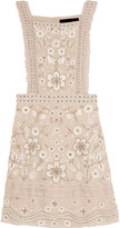 Needle & Thread Lace-trimmed embellished crepe dress