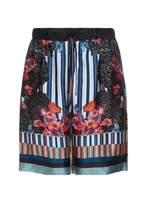 Meng Men S Black & Pink Printed Long Silk Satin Shorts