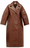 Ganni Cropped-sleeve Double-breasted Leather Trench Coat - Womens - Brown