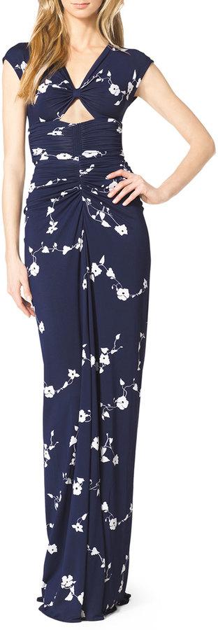 Michael Kors Cap-Sleeve Cutout Jersey Gown