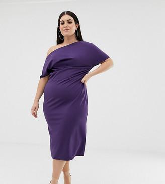 Asos DESIGN Curve pleated shoulder pencil dress
