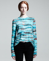 Proenza Schouler Long Sleeve Tie-Dye T-Shirt, Emerald/Rust
