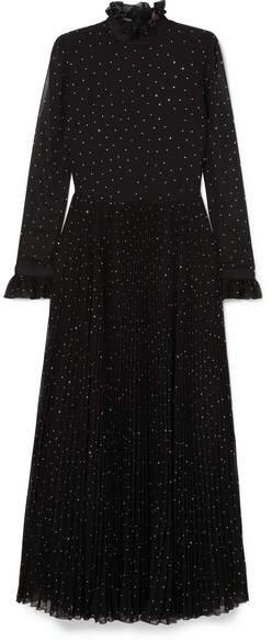 Philosophy di Lorenzo Serafini Studded Plissé-paneled Chiffon Gown - Black