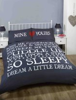 Made With Love Mine and Yours Heart Love Duvet Cover Quilt Bedding Set, Blue/White/Red, Double