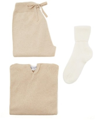 Johnstons of Elgin Cashmere Hooded Sweater, Track Pants And Socks - Beige