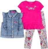 Betsey Johnson Toddler Ruffled Denim Vest, Embroidered Tee & Printed Leggings Set