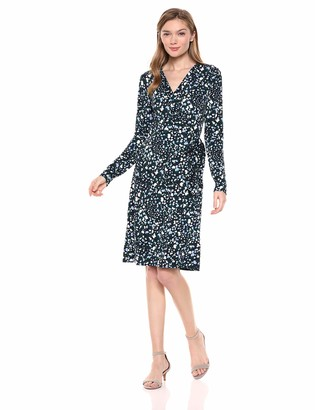 Lark & Ro Amazon Brand Women's Signature Compact Matte Jersey Long Sleeve Wrap Dress