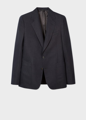 Paul Smith Men's Tailored-Fit Navy Linen Patch-Pocket Blazer