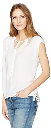 Velvet by Graham & Spencer Women's Dobby Challis Tie Details Shell Tank