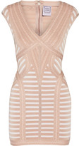 Herve Leger Katina Stretch Jacquard-knit Mini Dress - Sand